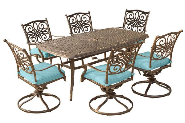 """Large image of Hanover Traditions 7-Piece Outdoor Dining Set In Blue With 72"""" x 38"""" Cast-Top Table - TRADDN7PCSW6BLU"""