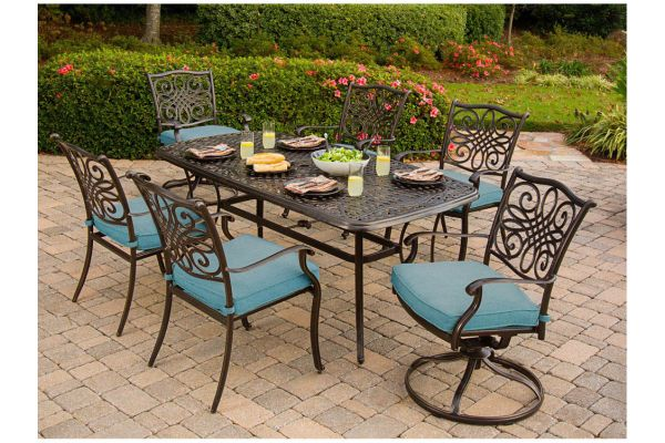Large image of Hanover Traditions 7-Piece Dining Patio Set - TRADDN7PCSWBLU