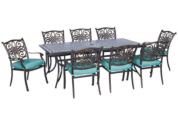 Large image of Hanover Traditions 9-Piece Dining Patio Set - TRADDN9PCBLU