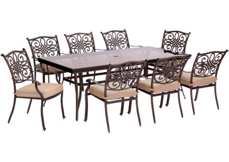 Hanover 9-Piece Traditions Swivel Dining Patio Set - TRADDN9PCG