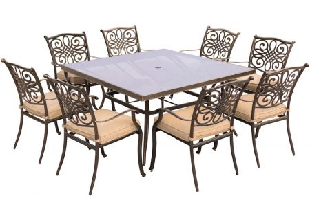 Hanover Traditions Natural Oat & Bronze 9-Piece Outdoor Dining Patio Set - TRADDN9PCSQG