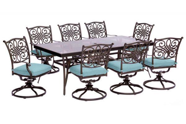 Large image of Hanover Traditions 9-Piece Dining Set In Blue With Extra Large Glass-Top Dining Table - TRADDN9PCSWGBLU