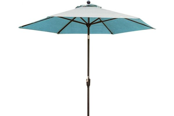 Large image of Hanover Traditions Blue 11 Ft. Table Umbrella - TRADUMB-11-B