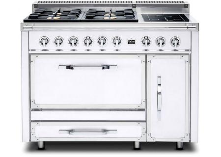 "Viking 48"" Tuscany Series Pro-Style Antique White Dual Fuel Range - TVDR4806BAW"