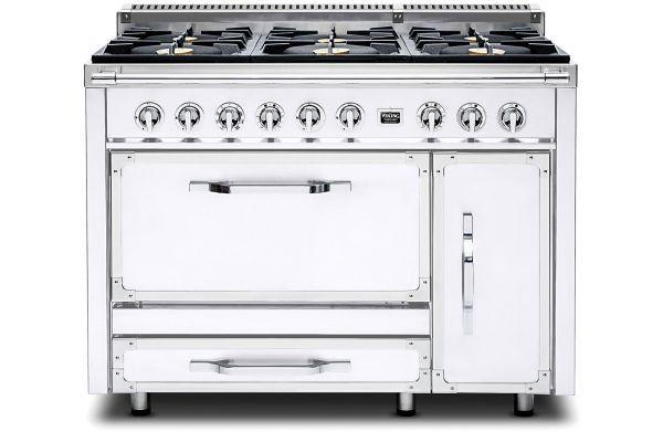 """Large image of Viking 48"""" Tuscany Series Pro-Style Antique White Dual Fuel Range - TVDR4806BAW"""