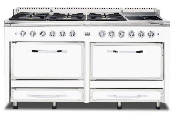 """Large image of Viking 66"""" Tuscany Series Antique White Induction Dual Fuel Range - TVDR6606IAW"""