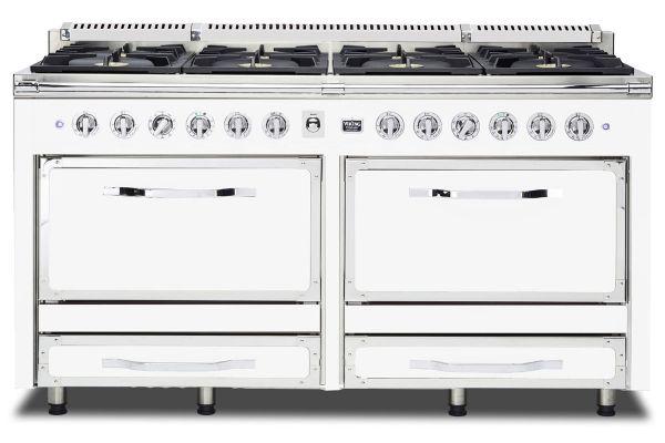 "Large image of Viking 66""  Tuscany Series Antique White 8 Burner Dual Fuel Range - TVDR6608BAW"