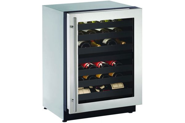 "Large image of U-Line 24"" Stainless Frame Dual-Zone Wine Refrigerator - U-2224ZWCS-00B"