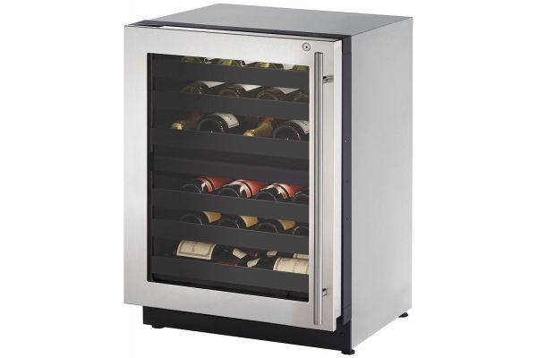 "Large image of U-Line 24"" Stainless Frame With Lock Left-Hinge Dual-Zone Wine Refrigerator - U-2224ZWCS-15B"