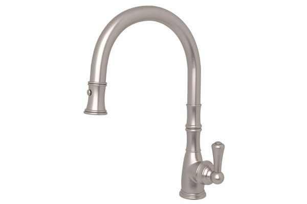 Large image of Rohl Satin Nickel Perrin & Rowe Traditional Pull-Down Faucet - U.4744/STN-2
