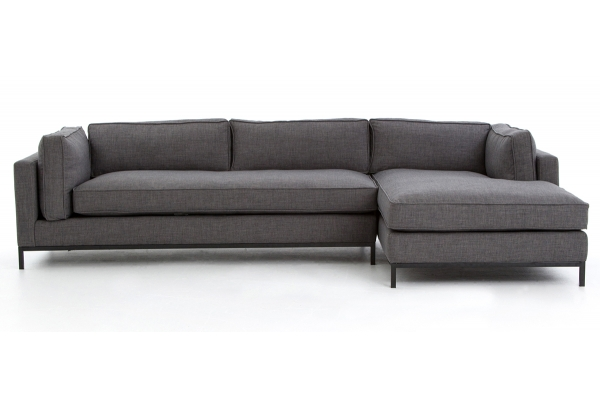 Large image of Four Hands Atelier Collection Bennett Charcoal Grammercy 2-Piece RAF Chaise Sectional - UATR-001A-008