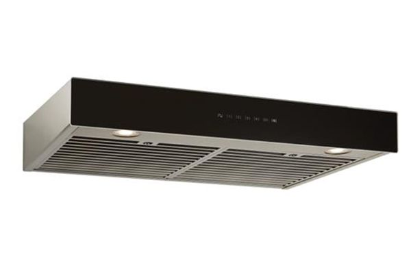 "Large image of Best Ispira 30"" Stainless Steel With Black Glass Under-Cabinet Range Hood - UCB3I30SBB"