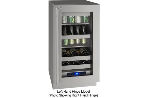 """Large image of U-Line 18"""" Stainless Frame With Lock Left-Hinge Beverage Center - UHBV518-SG51A"""