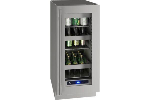 "Large image of U-Line 15"" Glass Stainless Steel Frame Refrigerator - UHRE515-SG01A"