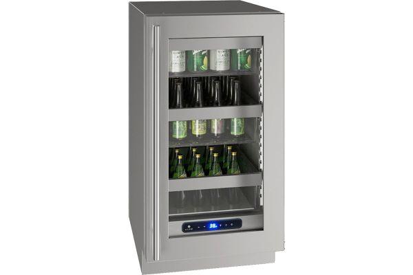 "Large image of U-Line 18"" Glass Stainless Frame Refrigerator - UHRE518-SG01A"