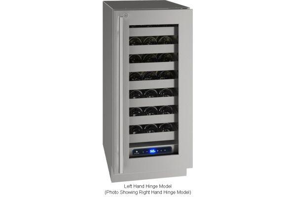 "Large image of U-Line 15"" Stainless Frame With Lock Left-Hinge Wine Refrigerator - UHWC515-SG51A"