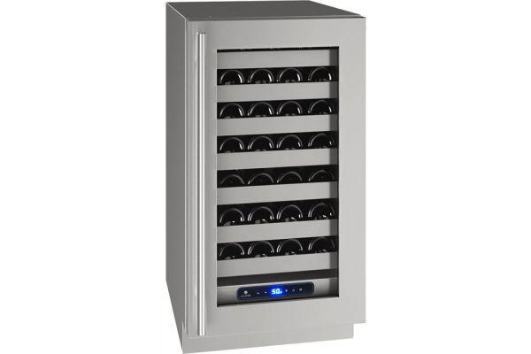 "Large image of U-Line 18"" Stainless Frame Wine Refrigerator - UHWC518-SG01A"