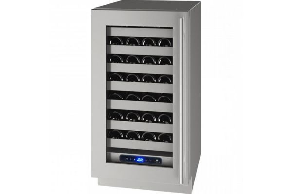 "Large image of U-Line 18"" Stainless Frame With Lock Left-Hinge Wine Refrigerator - UHWC518-SG51A"