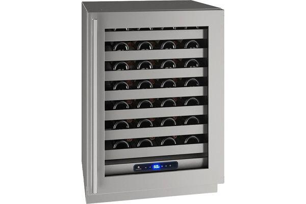 "Large image of U-Line 24"" Stainless Frame Wine Refrigerator - UHWC524-SG01A"