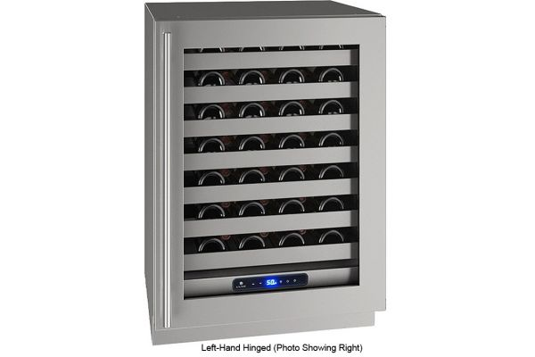 "Large image of U-Line 24"" Stainless Frame With Lock Left-Hinge Wine Refrigerator - UHWC524-SG51A"