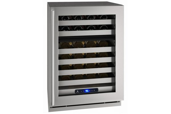 """Large image of U-Line 24"""" Stainless Frame Dual-Zone Wine Refrigerator - UHWD524-SG01A"""