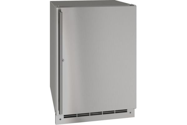 "Large image of U-Line 24"" Stainless Steel With Lock Outdoor Refrigerator - UORE124-SS31A"