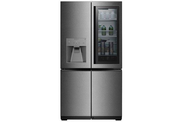 Large image of LG SIGNATURE 23 Cu. Ft. Textured Steel Smart Wi-Fi InstaView Door-In-Door Counter-Depth Refrigerator - URNTC2306N