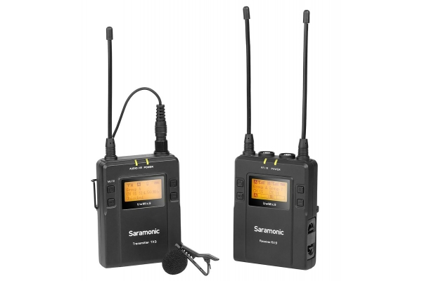 Large image of Saramonic UHF Wireless Lavalier Microphone System With Portable Dual-Channel Camera-Mountable Receiver - UWMIC9TX9RX9