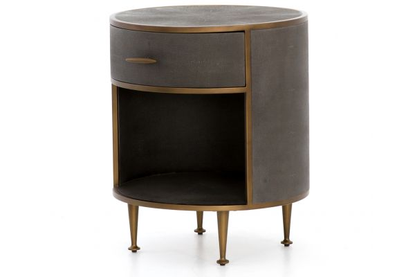 Large image of Four Hands Bentley Collection Shagreen Antique Brass Round Nightstand - VBEN-026A