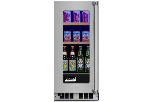 "Large image of Viking 15"" Professional Stainless Steel Left Hand Hinge Glass Door Beverage Center - VBUI5150GLSS"