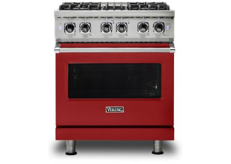 "Viking 30"" Professional 5 Series Apple Red Freestanding Dual Fuel Range - VDR5304BAR"