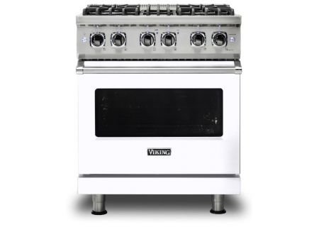 """Viking 30"""" Professional 5 Series White Freestanding Dual Fuel Range - VDR5304BWH"""