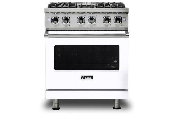 """Large image of Viking 30"""" Professional 5 Series White Freestanding Dual Fuel Range - VDR5304BWH"""