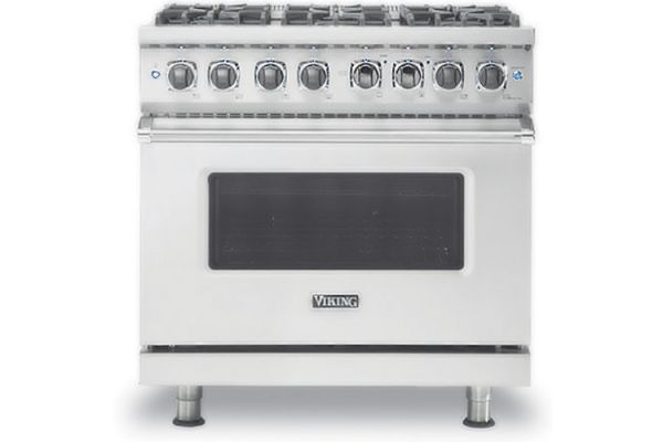"Large image of Viking 36"" Professional 5 Series Stainless Steel Freestanding Dual Fuel Range - VDR5366BSS"