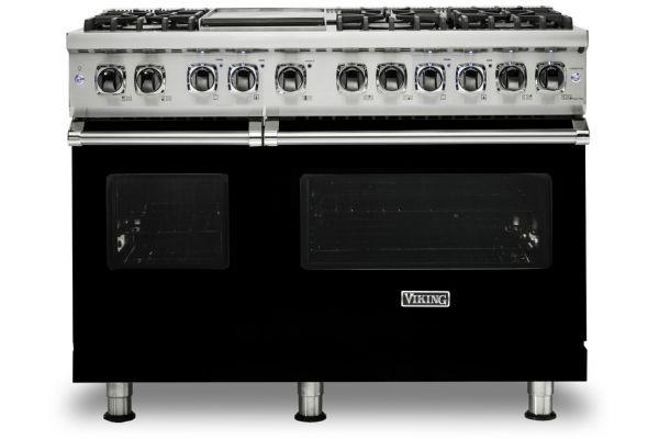 """Large image of Viking 48"""" Professional 5 Series Black Freestanding Dual Fuel Range - VDR5486GBK"""