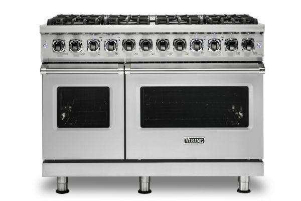 "Large image of Viking 48"" Professional 5 Series Stainless Steel Freestanding 8 Burner Dual Fuel Range - VDR5488BSS"