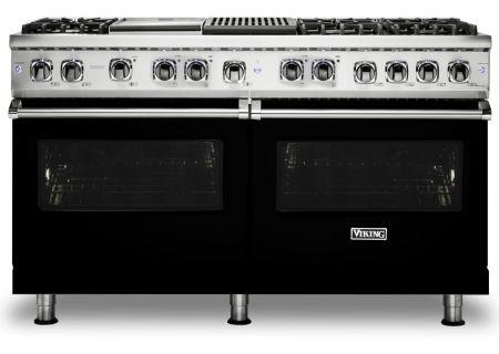 "Viking 60"" Professional 5 Series Black Freestanding Dual Fuel Range - VDR5606GQBK"