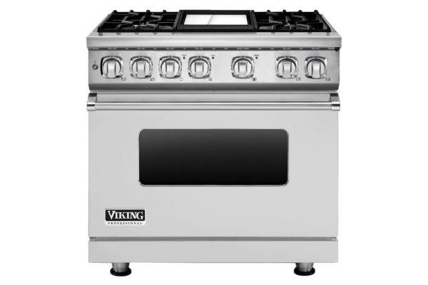 "Viking 36"" Professional 7 Series Stainless Steel 4 Burner Dual Fuel Range - VDR7364GSS"
