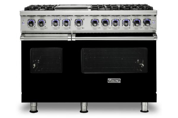 """Large image of Viking Professional 7 Series 48"""" Black Dual Fuel Range - VDR74826GBK"""