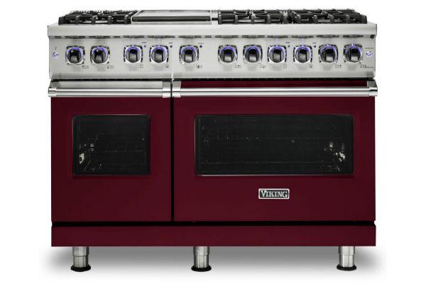 """Large image of Viking 48"""" Professional 7 Series Burgundy 6 Burner With Griddle Dual Fuel Range - VDR74826GBU"""