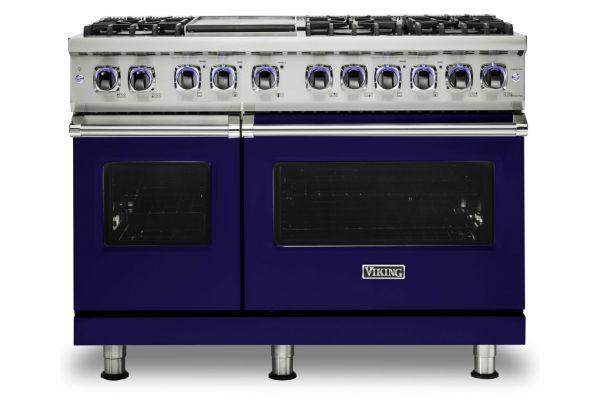 """Large image of Viking 48"""" Professional 7 Series Cobalt Blue 6 Burner With Griddle Dual Fuel Range - VDR74826GCB"""