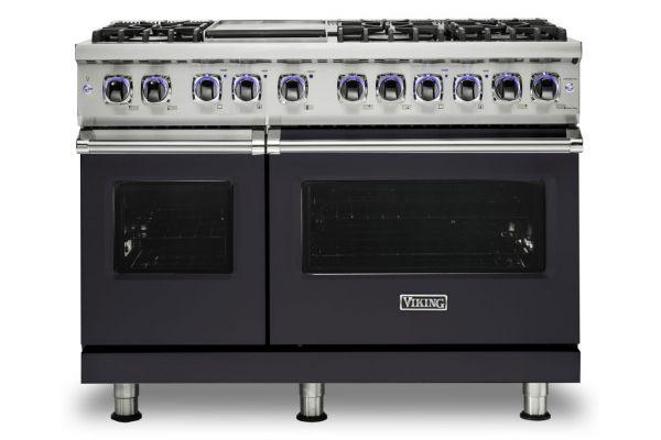 "Large image of Viking 48"" Professional 7 Series Graphite Grey 6 Burner With Griddle Dual Fuel Range - VDR74826GGG"
