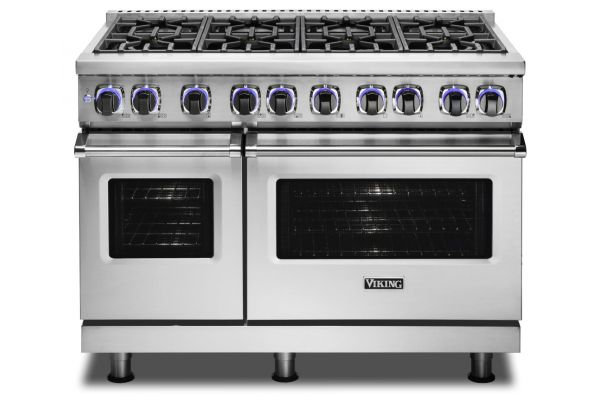 "Viking 48"" Professional 7 Series Stainless Steel 8 Burner Dual Fuel Range - VDR74828BSS"