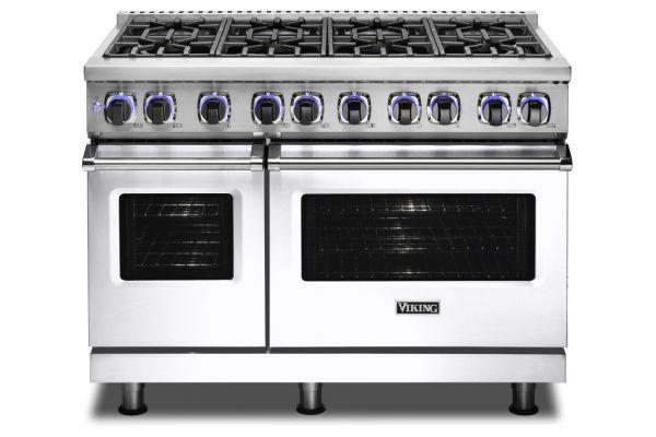 """Large image of Viking 48"""" Professional 7 Series White 8 Burner Dual Fuel Range - VDR74828BWH"""