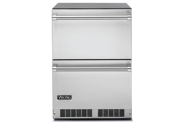 """Large image of Viking 24"""" Professional Series Stainless Steel Refrigerator Drawers - VDUI5240DSS"""