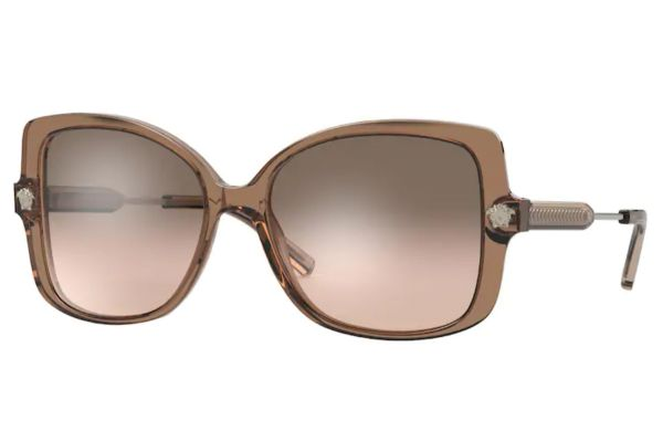 Large image of Versace Rectangle Transparent Brown Womens Sunglasses - VE4390F53043D-56
