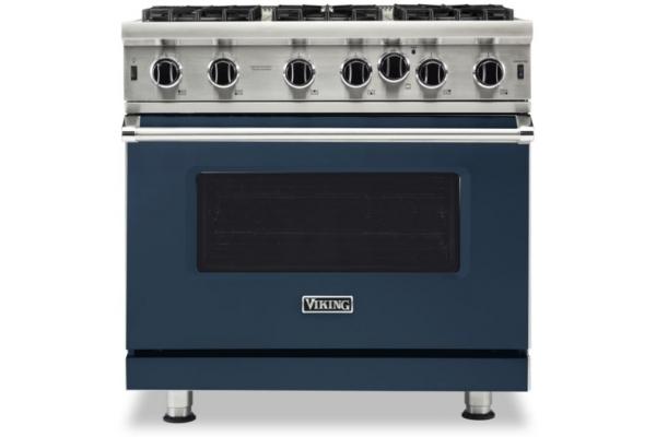 "Large image of Viking Professional 5 Series 36"" Slate Blue Natural Gas Range - VGIC53626BSB"