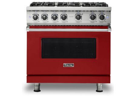 "Viking 36"" Professional 5 Series Apple Red Gas Sealed Burner Range - VGR5366BAR"