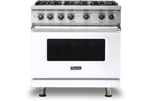 """Large image of Viking 36"""" Professional 5 Series White Gas Sealed Burner Range - VGR5366BWH"""