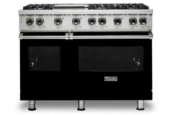 """Large image of Viking 48"""" Professional 5-Series Black Gas Range - VGR5486GBK"""